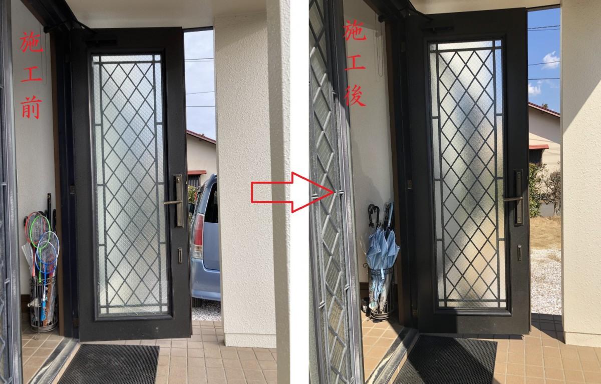 玄関ガラス修繕(施工前後)全体